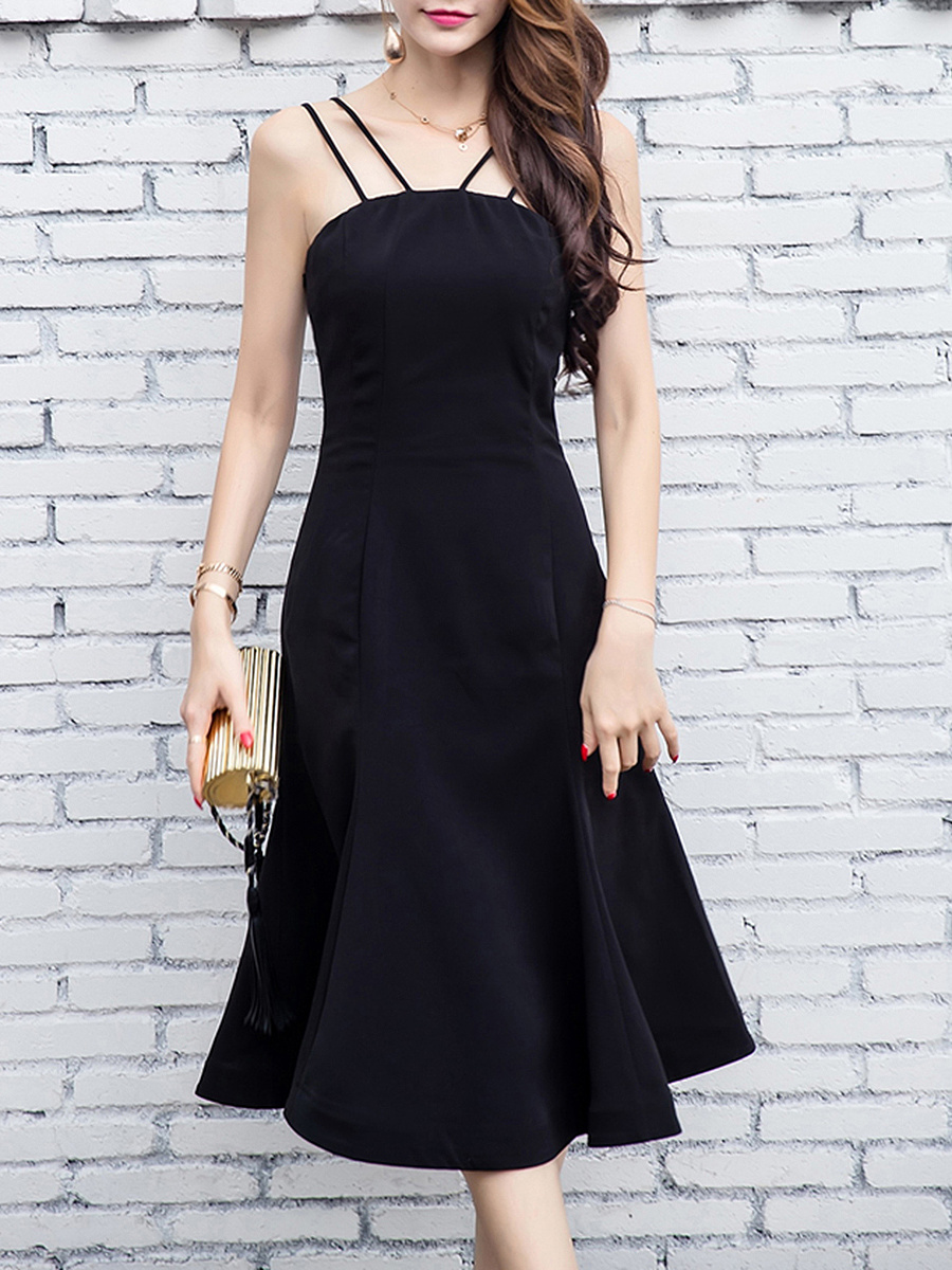 Hot Two Way Solid Mermaid Maxi Dress In Black