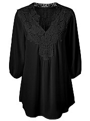 Spring Summer  Chiffon  V-Neck  Decorative Lace Patchwork  Plain  Three-Quarter Sleeve Blouses