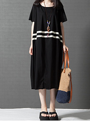 Round Neck  Contrast Trim  Color Block Shift Dress