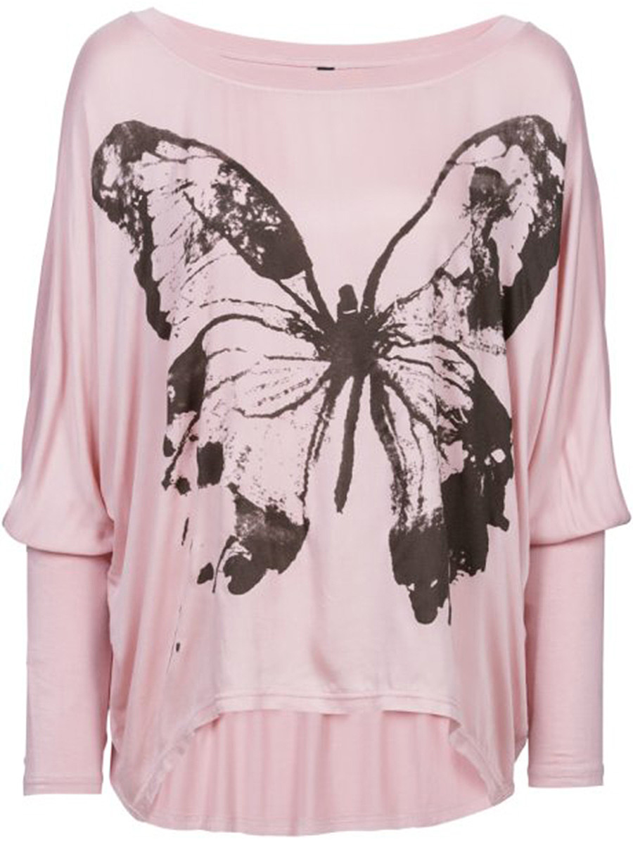 Round Neck Butterfly Printed Batwing Sleeve T-Shirt