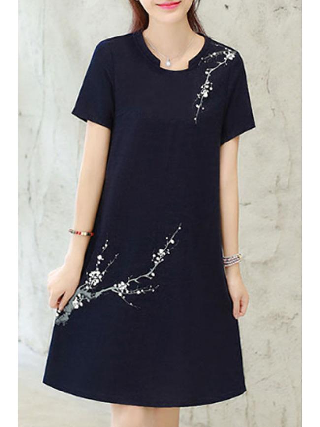 Image of Fashionmia Asymmetric Neck Floral Printed Shift Dresses