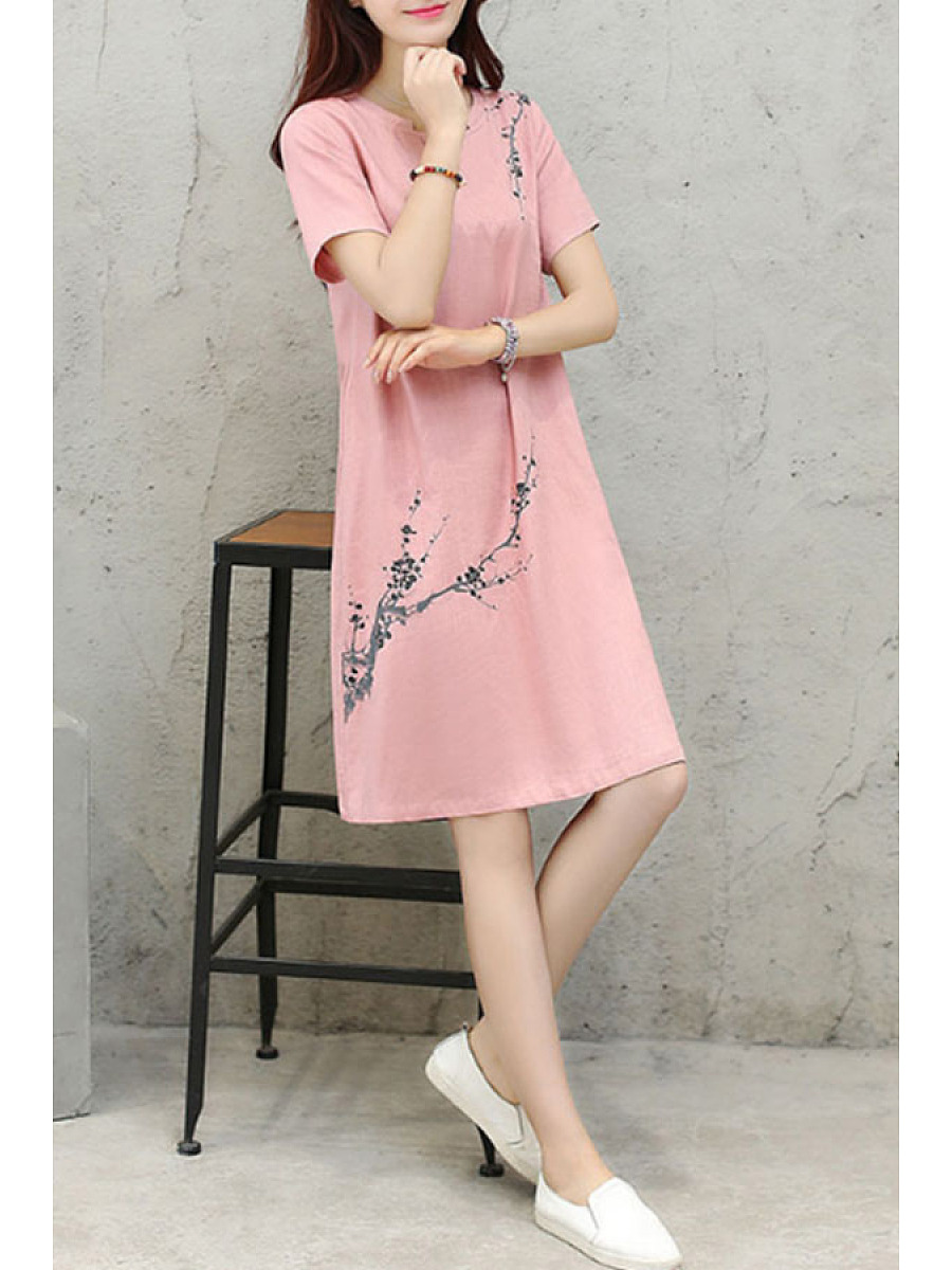 Asymmetric Neck  Floral Printed Shift Dresses