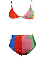 Spaghetti-Strap-Color-Block-Triangle-Bikini