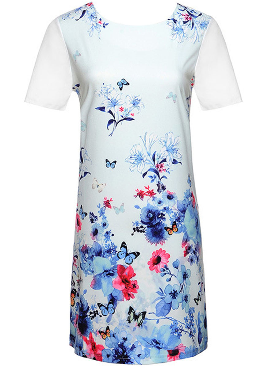 Designed Round Neck Floral Printed Bodycon Dress