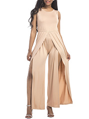 Round Neck Plain High Slit Wide-Leg Jumpsuit