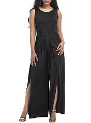 Round-Neck-Plain-High-Slit-Wide-Leg-Jumpsuit