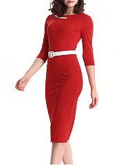 Fabulous Round Neck Belt Color Block Bodycon Dress