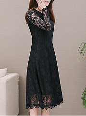 Round Neck  Lace Plain Date Maxi Dress