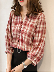 V-Neck Plaid Puff Sleeve Blouse