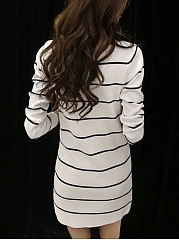 Boat Neck  Side Slit  Striped Shift Dress
