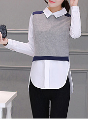 Doll Collar Color Block Long Sleeve T-Shirt