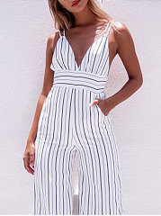 Deep V-Neck  Backless  Vertical Striped  Slim-Leg Jumpsuits