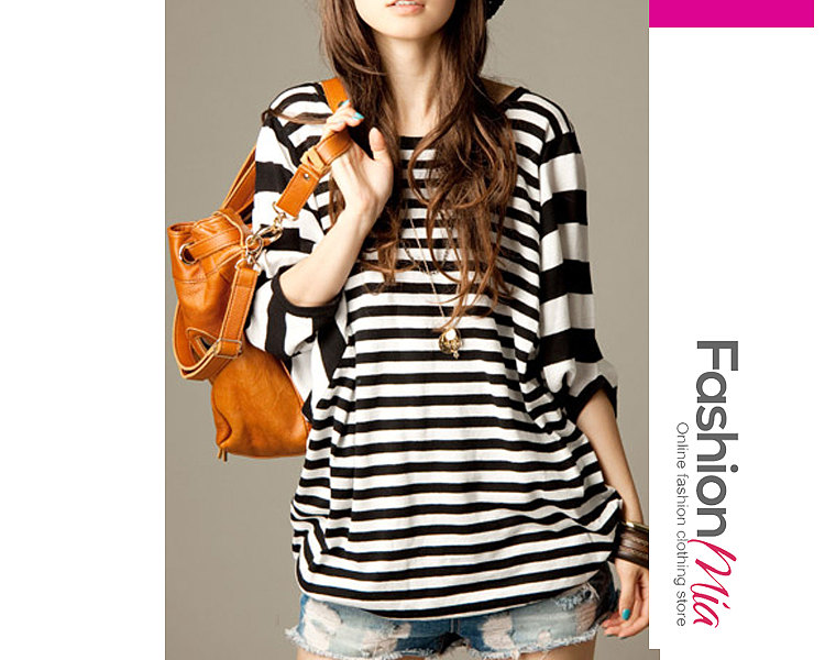 gender:women, hooded:no, thickness:regular, brand_name:fashionmia, style:casual*elegant*fashion, material:polyester, collar&neckline:round neck, embellishment:patchwork, pattern_type:striped, occasion:basic*daily, season:autumn*spring, package_included:top*1, lengthshouldersleeve lengthbust