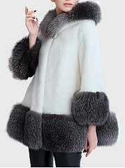 Hooded Color Block Pocket Faux Fur Coat