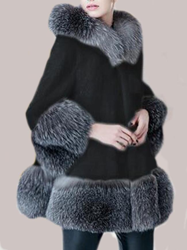 Fashionmia Hooded Color Block Pocket Faux Fur Coat