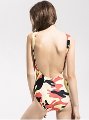 Round Neck  Camouflage One Piece