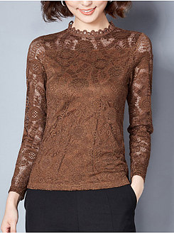 Autumn Spring  Lace  Women  High Neck  See-Through  Plain  Long Sleeve Blouses