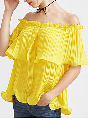 Summer  Polyester  Women  Off Shoulder  Flounce  Plain  Short Sleeve Blouses