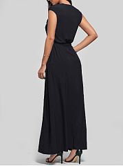 V-Neck  Applique Maxi Dress