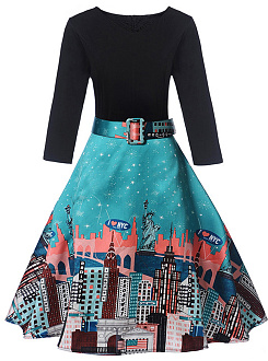 Round Neck Belt Unique Building Printed Skater Dress