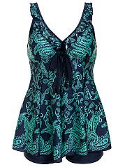 V-Neck-Bowknot-Ruffle-Trim-Paisley-Swimwear