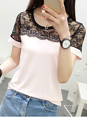 Spring Summer  Polyester  Women  Round Neck  Decorative Lace Patchwork  Plain Short Sleeve T-Shirts