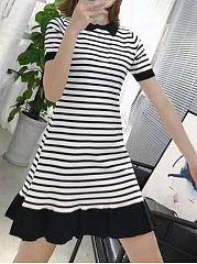 Casual Doll Collar Striped A-Line Dress