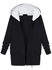 Hooded Patch Pocket Fleece Lined Coat
