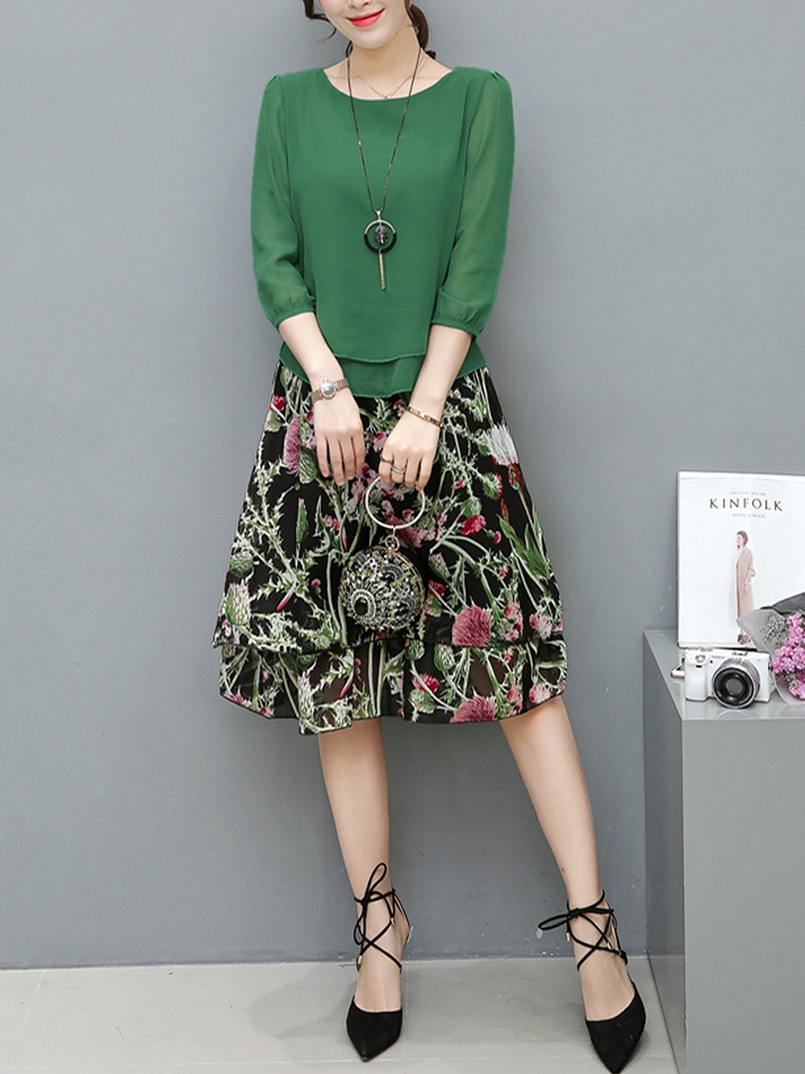 Round Neck Blouse And Elastic Waist Floral Printed Midi Skirt