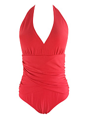 Halter Ruched Solid One Piece In Red