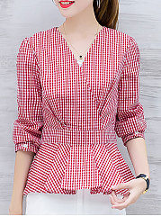 V-Neck  Flounce  Plaid  Long Sleeve Blouses