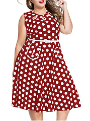 Crew Neck Belt  Polka Dot  Plus Size Flared Dress