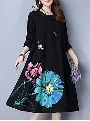 Unique Loose Round Neck Floral Shift Dress