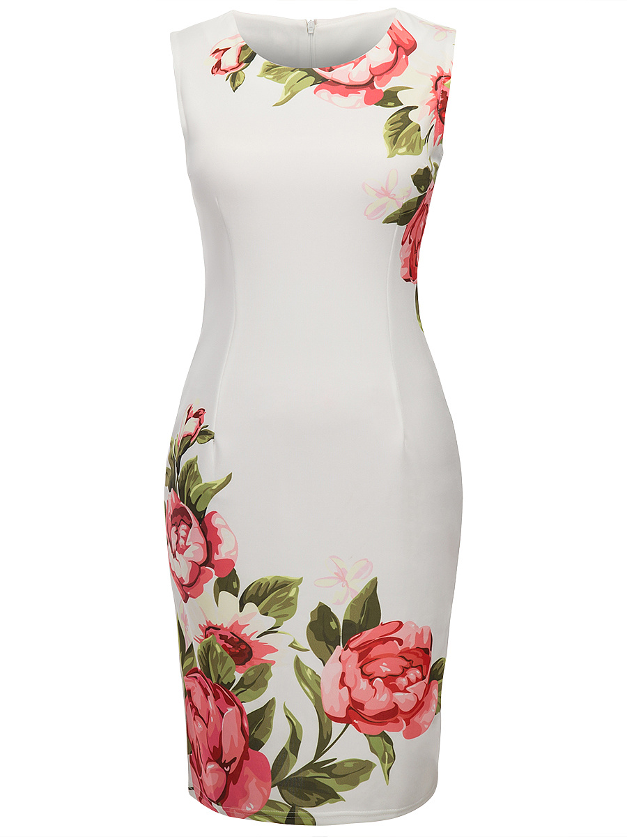Floral Printed Round Neck Slit Bodycon Dress