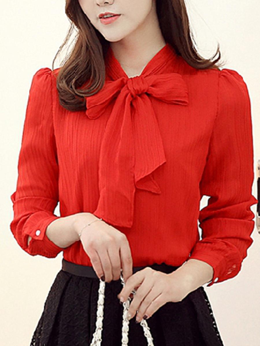 Tie collar bowknot plain long sleeve t shirt for Long sleeve t shirts with collar