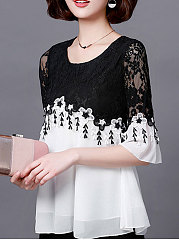 Spring Summer  Polyester  Women  Round Neck  Patchwork See-Through  Lace  Bell Sleeve  Three-Quarter Sleeve Blouses