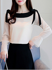 Boat Neck Bowknot Color Block Bell Sleeve T-Shirt