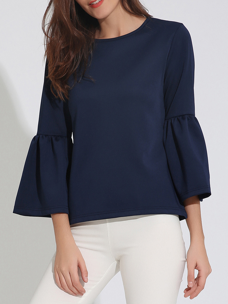 Charming Designed Round Neck  Plain  Bell Long Sleeve T-Shirt