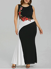 Round Neck  Patchwork Plus Size Midi  Maxi Dresses