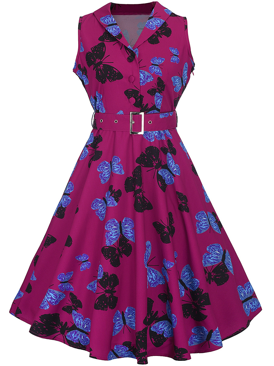 Shawl Collar Belt Allover Butterfly Printed Skater Dress