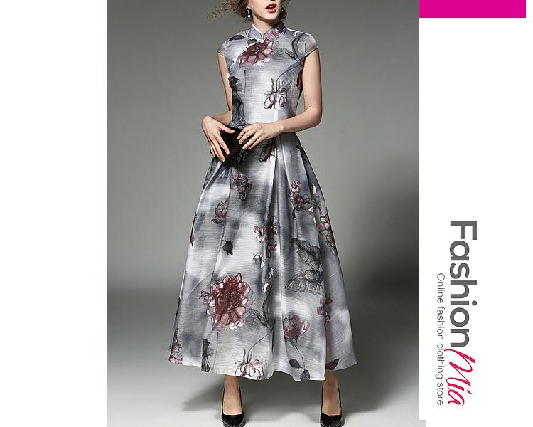 Summer Floral Printed Beading Band Collar Long Dress