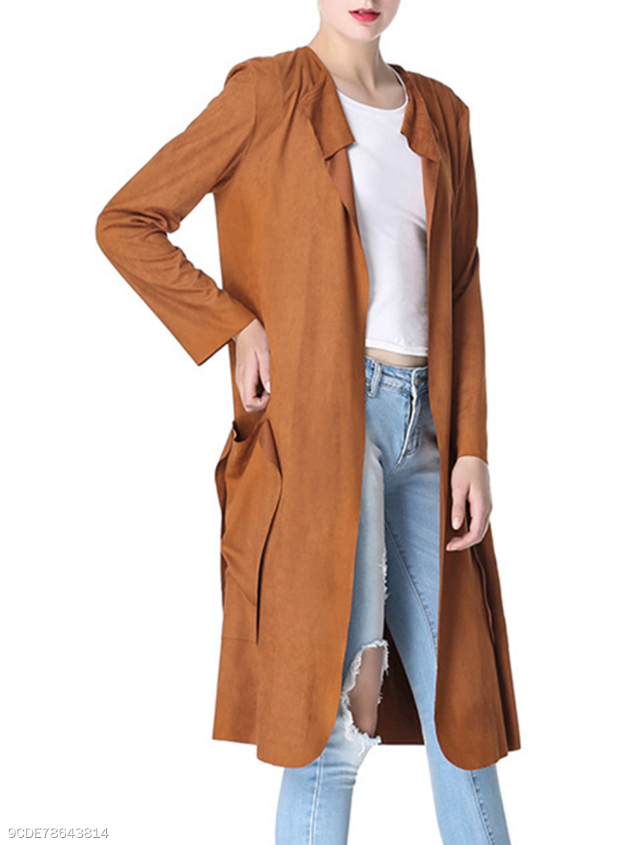 Plain  Long Sleeve Trench Coats