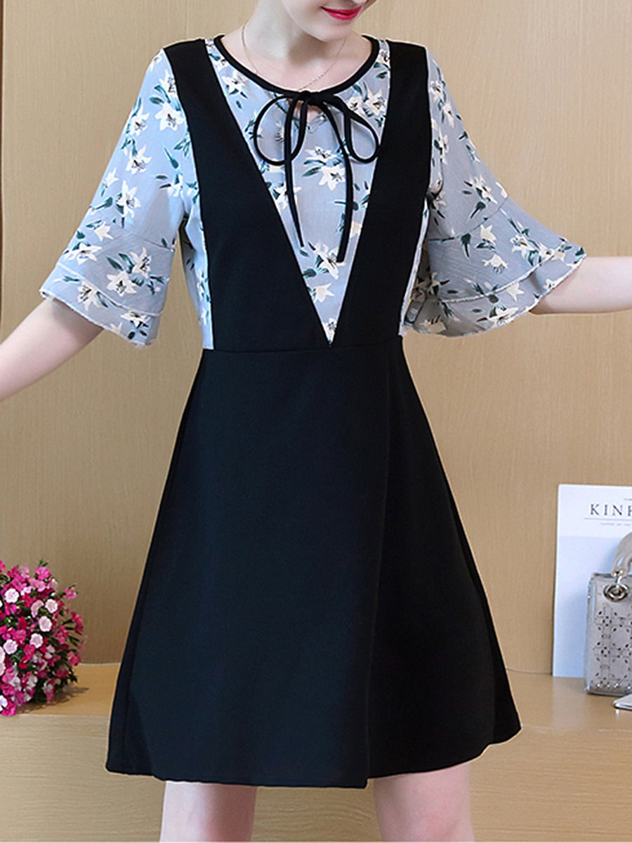 Tie Collar Bell Sleeve Patchwork Printed Skater Dress