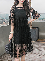 Round Neck  See-Through  Lace Plain Shift Dress