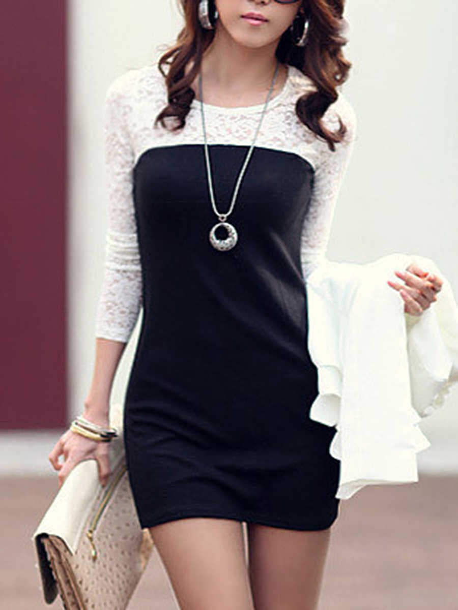 Color Block Hollow Out Mini Bodycon Dress