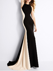 Crew Neck Color Block Mermaid Evening Dress
