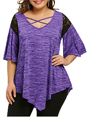 V-Neck  Patchwork  Plain  Batwing Sleeve  Half Sleeve Plus Size T-Shirts