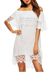 Off Shoulder  Decorative Lace  Plain Shift Dress