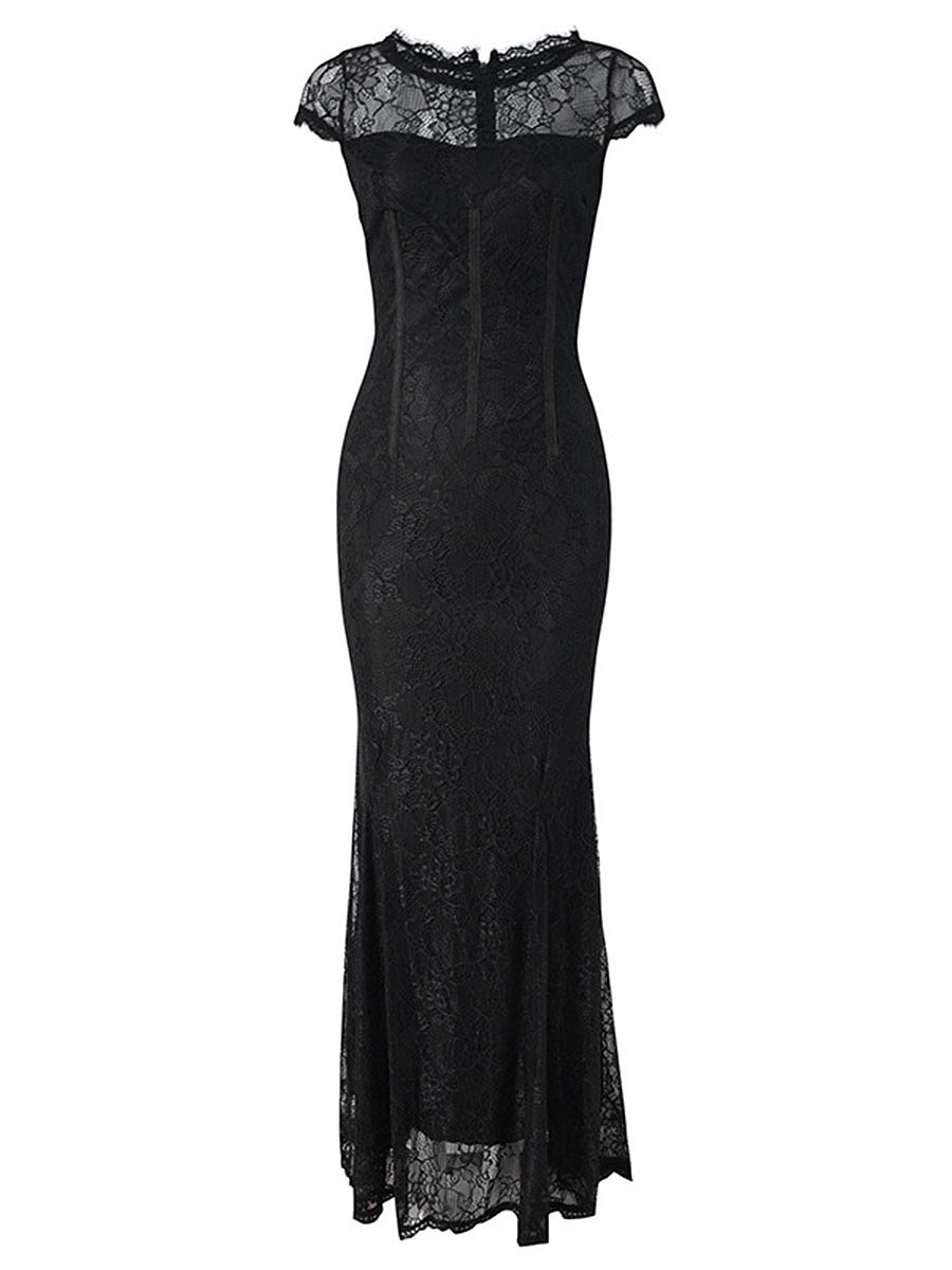 Round Neck  Hollow Out Plain  Lace Mermaid Evening Dress