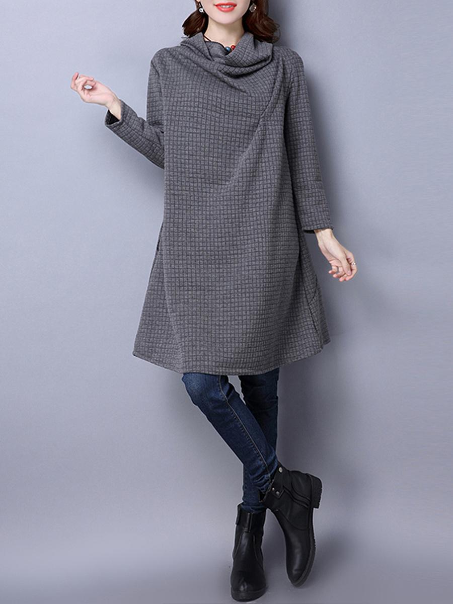 Cowl Neck Solid Pocket Shift Dress. Cowl ...